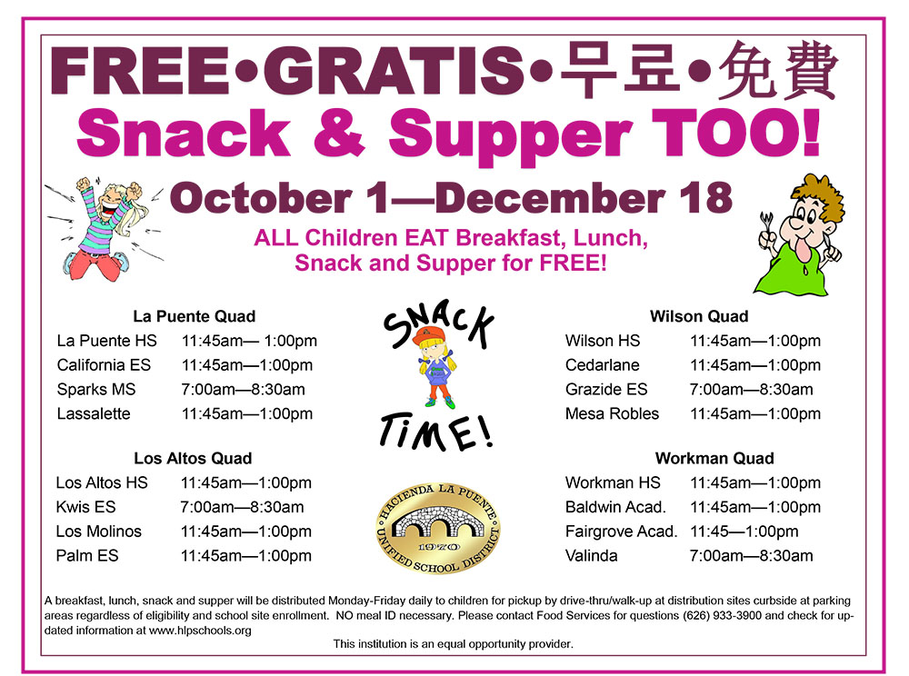 free eng snack supper