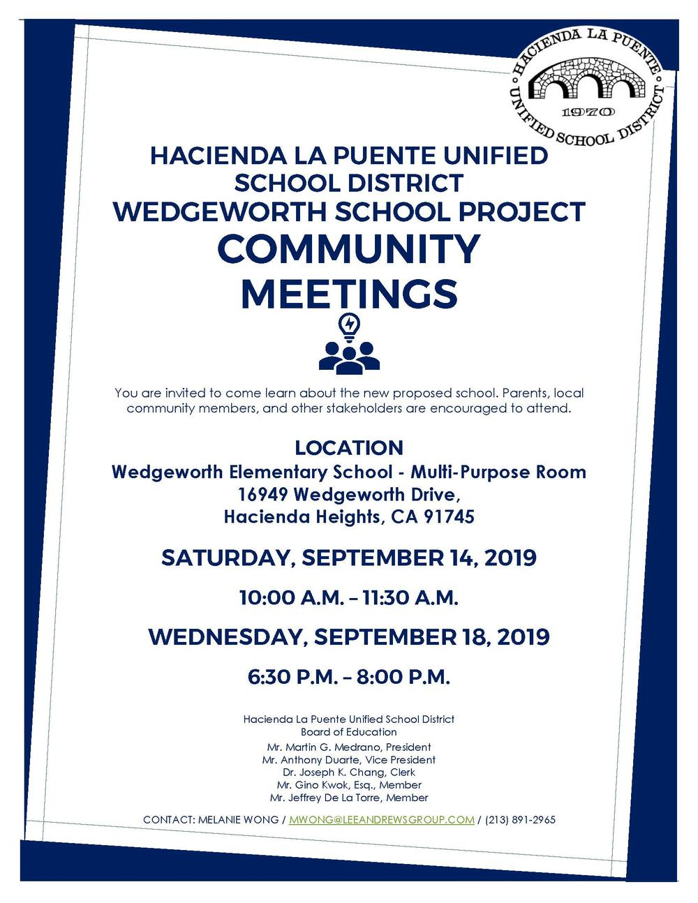 Wedgeworth School Community Meetings