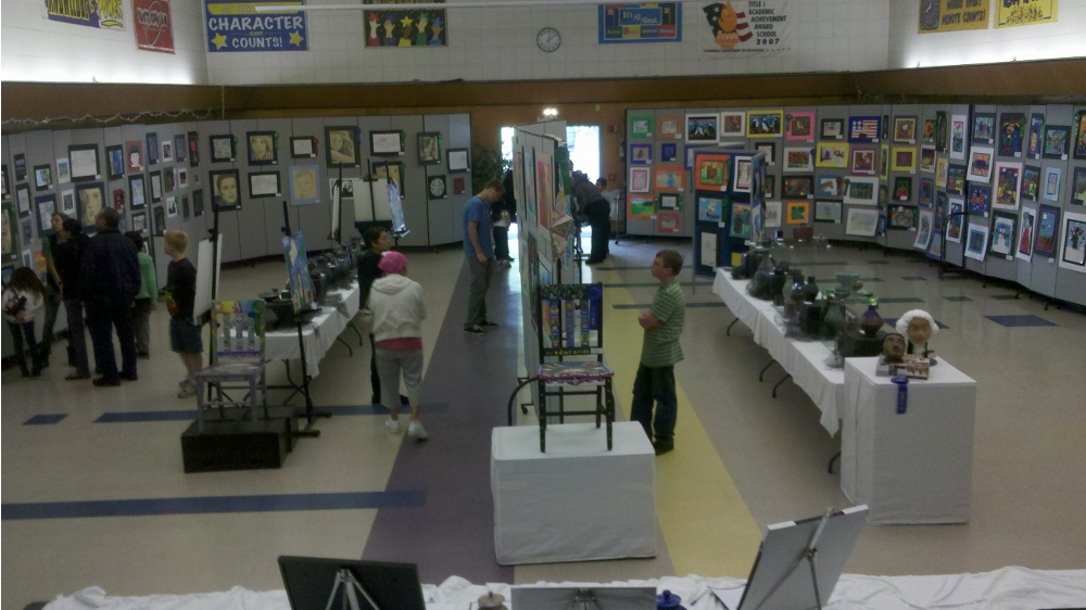 Art works on display in the Art Show exhibition space